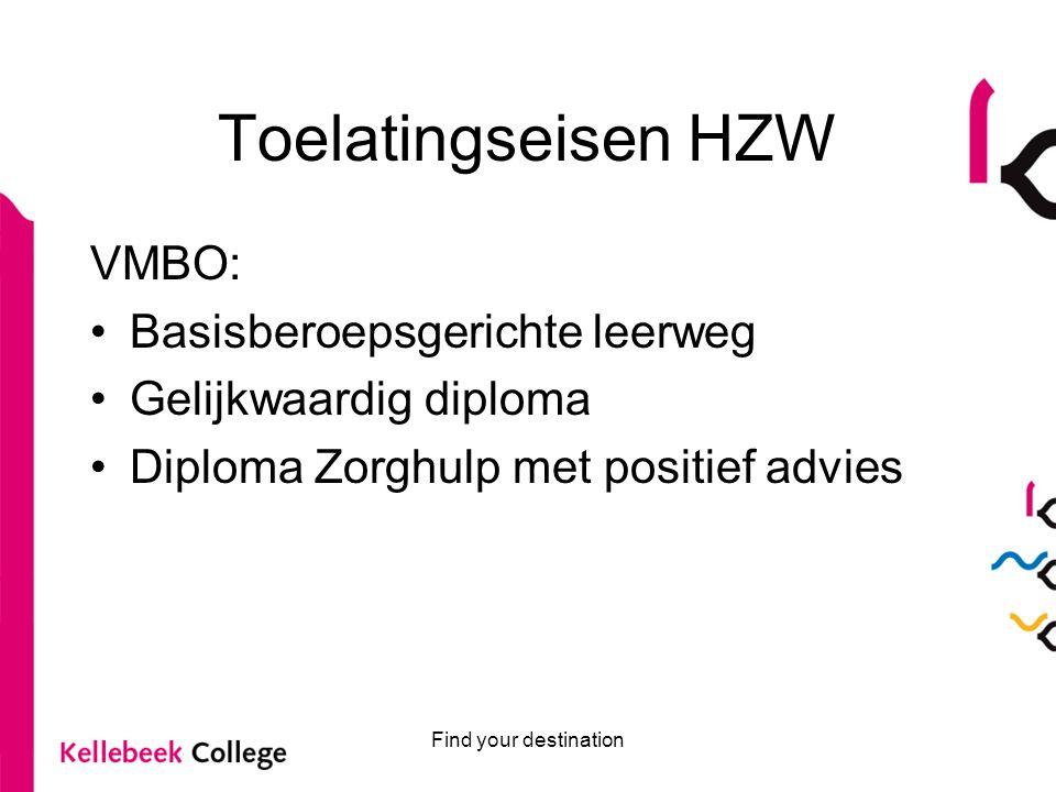 Find your destination Toelatingseisen HZW VMBO: Basisberoepsgerichte leerweg Gelijkwaardig diploma Diploma Zorghulp met positief advies