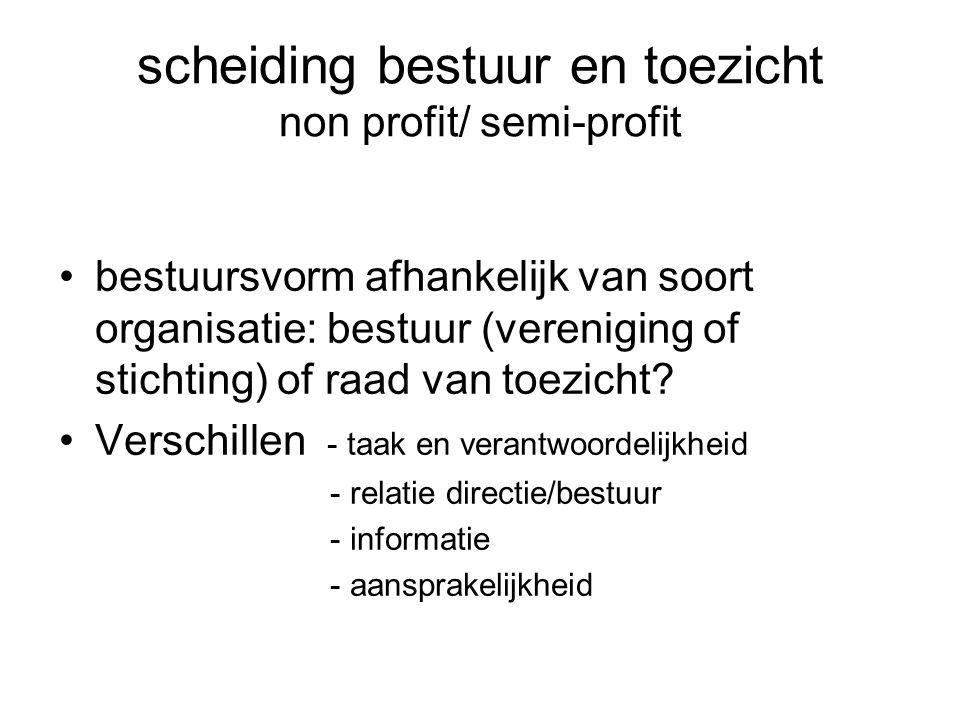 scheiding bestuur en toezicht non profit/ semi-profit bestuursvorm afhankelijk van soort organisatie: bestuur (vereniging of stichting) of raad van toezicht.