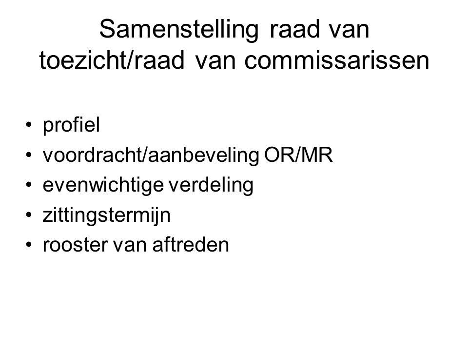 Samenstelling raad van toezicht/raad van commissarissen profiel voordracht/aanbeveling OR/MR evenwichtige verdeling zittingstermijn rooster van aftreden
