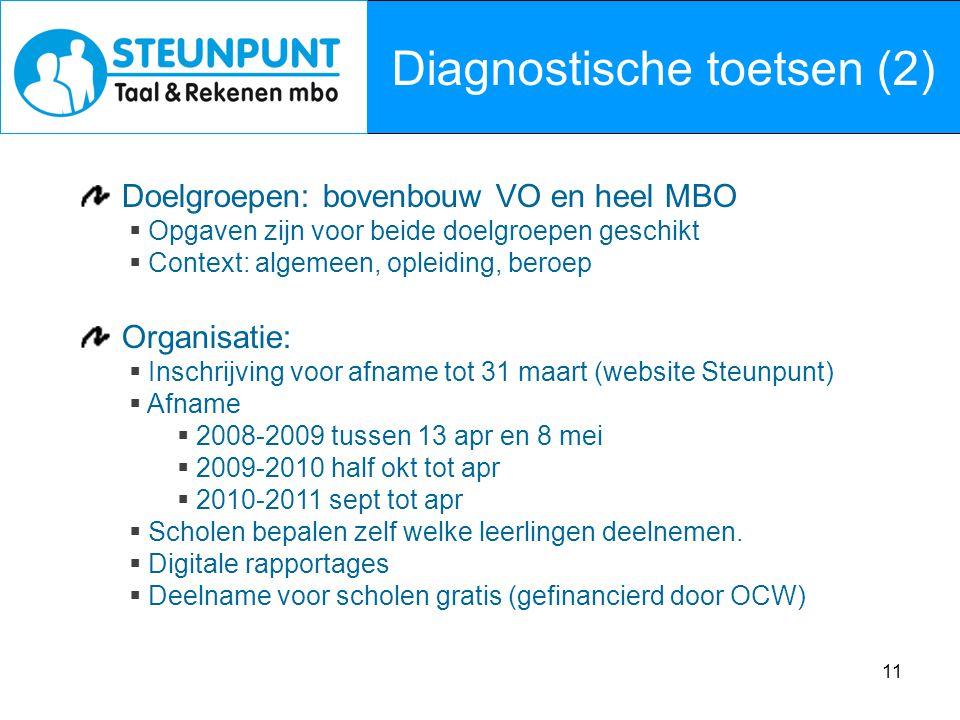 11 Diagnostische toetsen (2) Doelgroepen: bovenbouw VO en heel MBO  Opgaven zijn voor beide doelgroepen geschikt  Context: algemeen, opleiding, bero