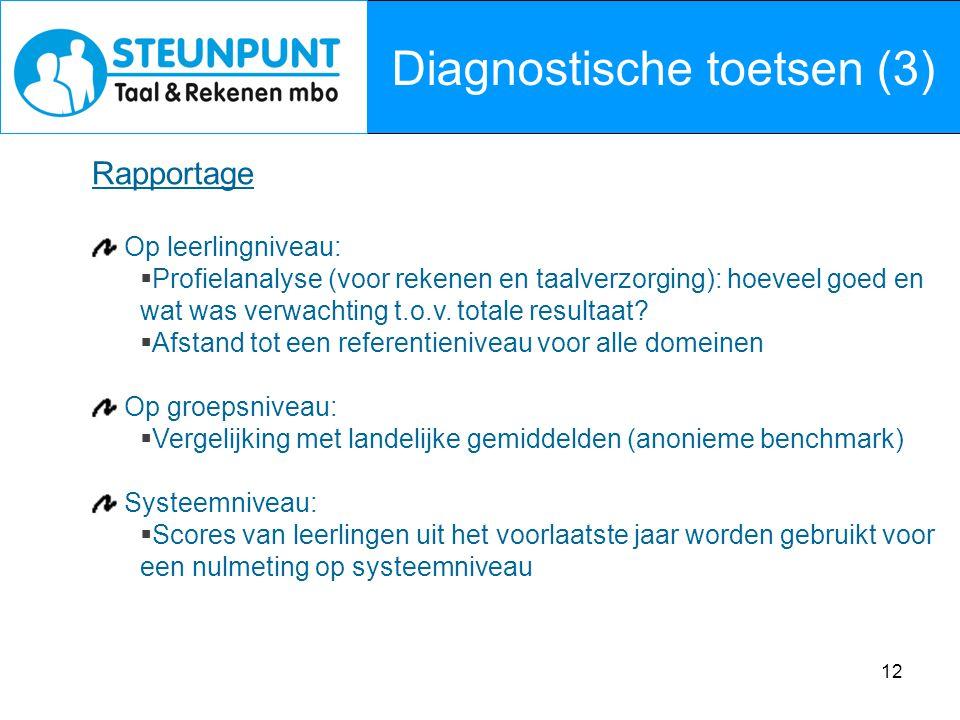 12 Diagnostische toetsen (3) Rapportage Op leerlingniveau:  Profielanalyse (voor rekenen en taalverzorging): hoeveel goed en wat was verwachting t.o.