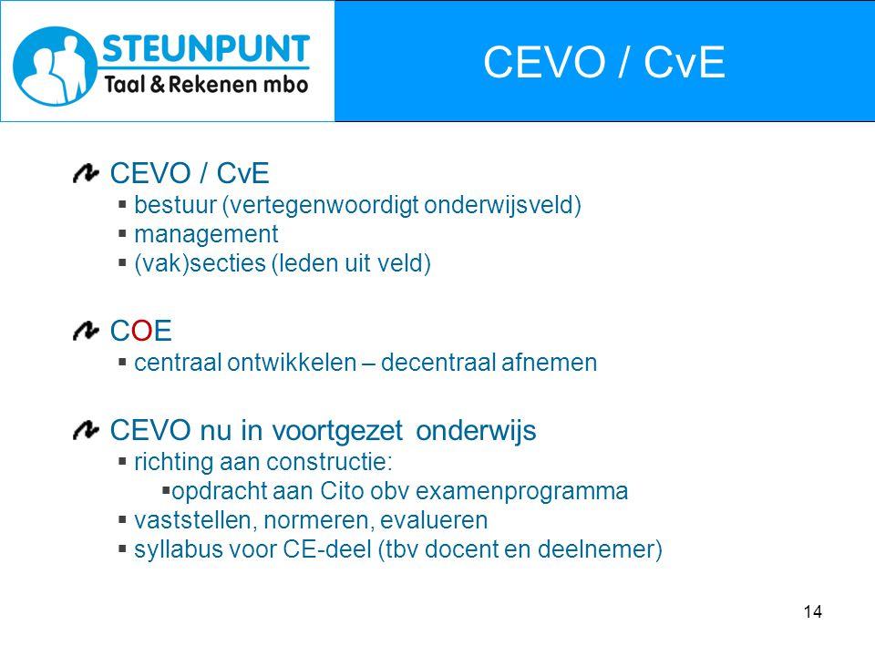 14 CEVO / CvE  bestuur (vertegenwoordigt onderwijsveld)  management  (vak)secties (leden uit veld) COE  centraal ontwikkelen – decentraal afnemen