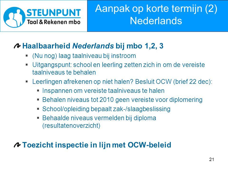 21 Haalbaarheid Nederlands bij mbo 1,2, 3  (Nu nog) laag taalniveau bij instroom  Uitgangspunt: school en leerling zetten zich in om de vereiste taa