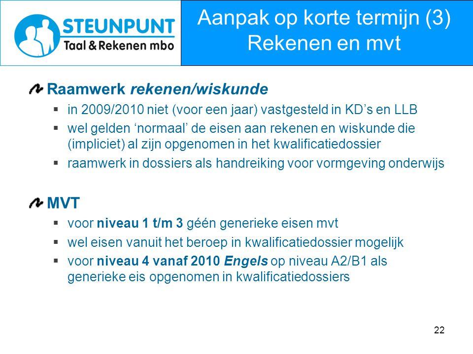 22 Raamwerk rekenen/wiskunde  in 2009/2010 niet (voor een jaar) vastgesteld in KD's en LLB  wel gelden 'normaal' de eisen aan rekenen en wiskunde di