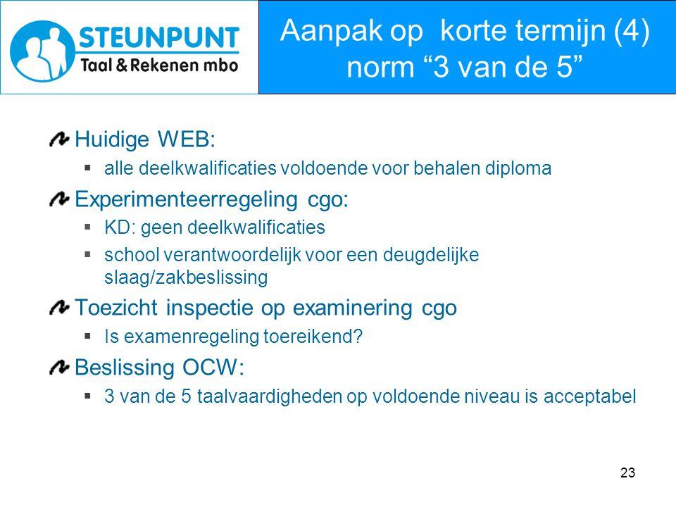 23 Huidige WEB:  alle deelkwalificaties voldoende voor behalen diploma Experimenteerregeling cgo:  KD: geen deelkwalificaties  school verantwoordel