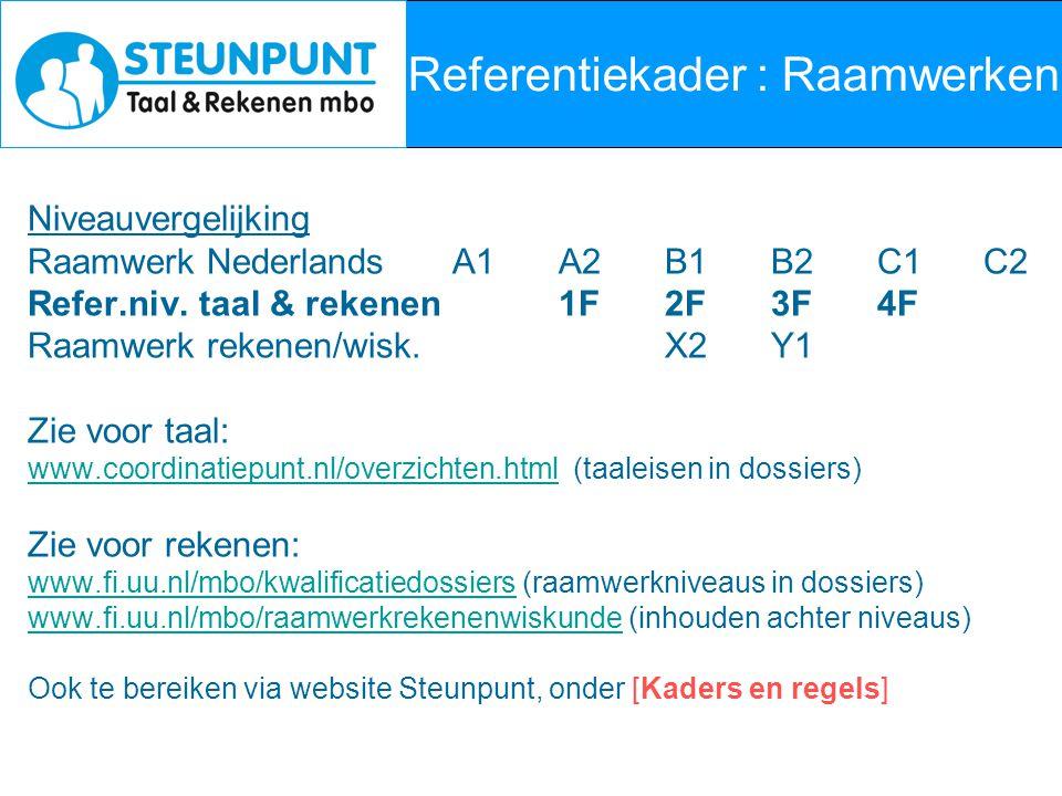 Referentiekader : Raamwerken Niveauvergelijking Raamwerk NederlandsA1A2B1B2C1C2 Refer.niv. taal & rekenen1F2F3F4F Raamwerk rekenen/wisk.X2Y1 Zie voor