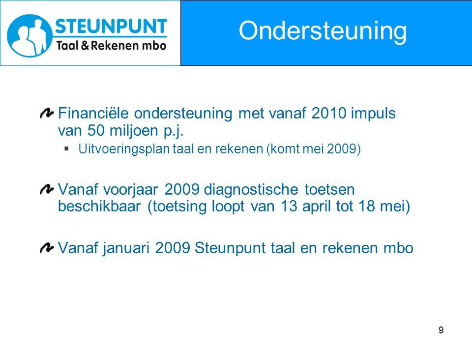 9 Financiële ondersteuning met vanaf 2010 impuls van 50 miljoen p.j.  Uitvoeringsplan taal en rekenen (komt mei 2009) Vanaf voorjaar 2009 diagnostisc