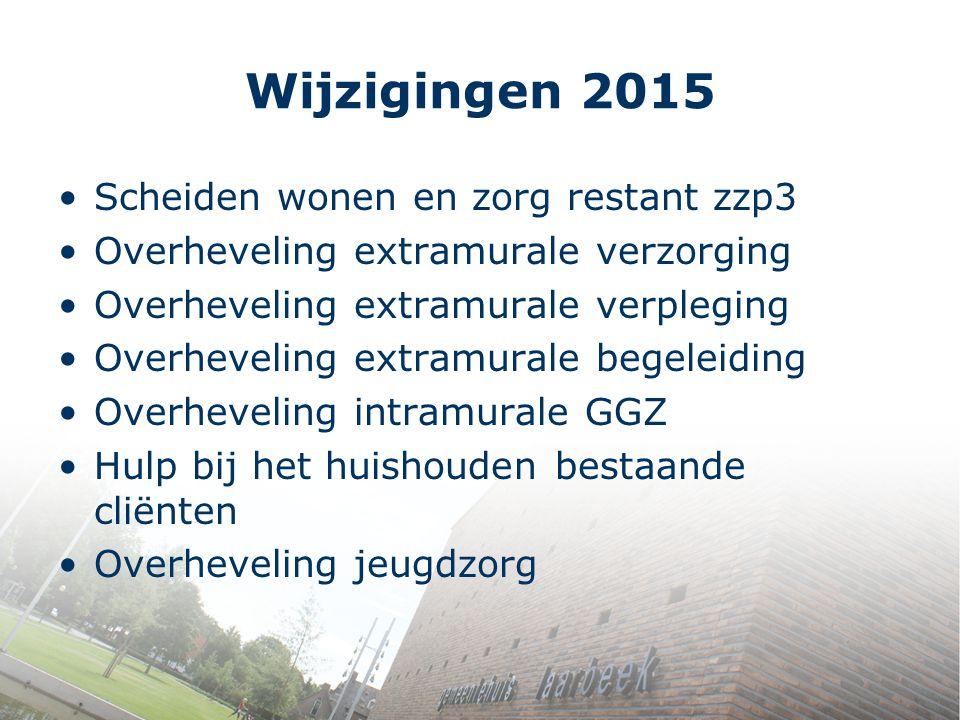 Wijzigingen 2015 Scheiden wonen en zorg restant zzp3 Overheveling extramurale verzorging Overheveling extramurale verpleging Overheveling extramurale