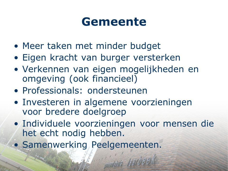 Gemeente Meer taken met minder budget Eigen kracht van burger versterken Verkennen van eigen mogelijkheden en omgeving (ook financieel) Professionals: