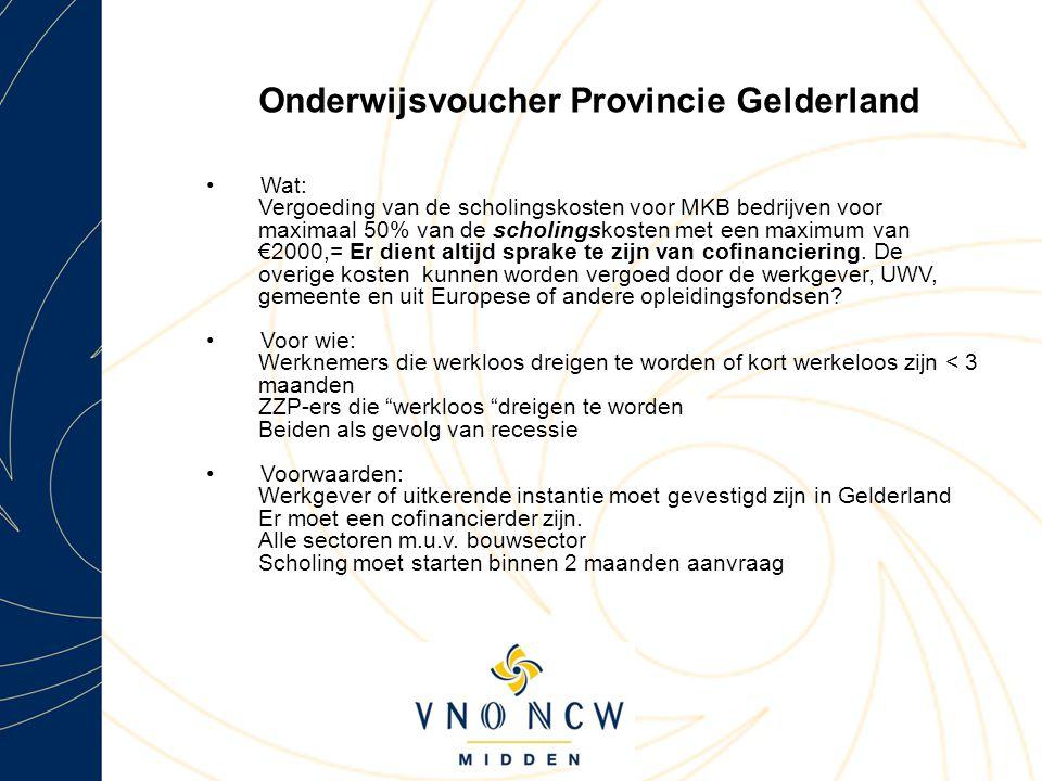 Onderwijsvoucher Provincie Gelderland Wat: Vergoeding van de scholingskosten voor MKB bedrijven voor maximaal 50% van de scholingskosten met een maximum van €2000,= Er dient altijd sprake te zijn van cofinanciering.