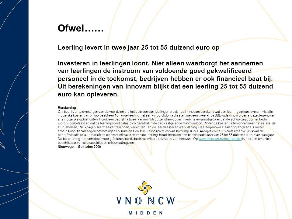 Ofwel…… Leerling levert in twee jaar 25 tot 55 duizend euro op Investeren in leerlingen loont.