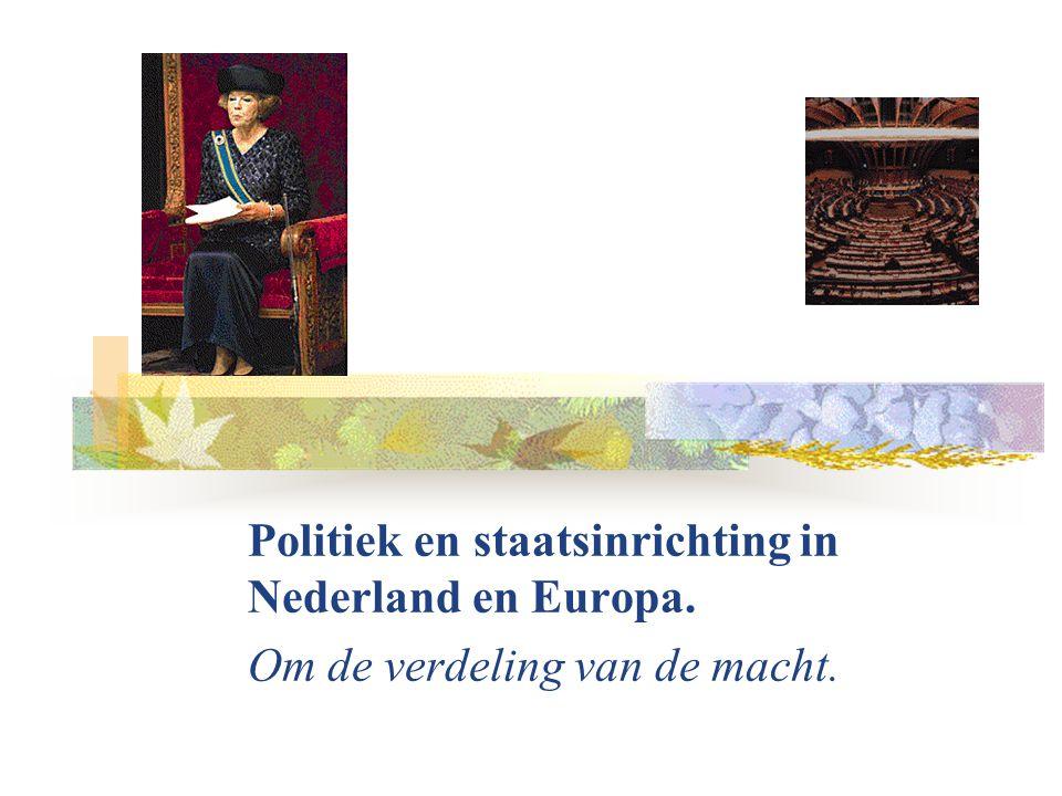 Politiek en staatsinrichting in Nederland en Europa. Om de verdeling van de macht.