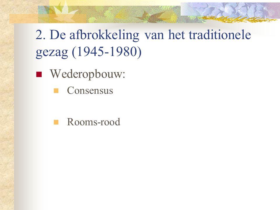2. De afbrokkeling van het traditionele gezag (1945-1980) Wederopbouw: Consensus Rooms-rood