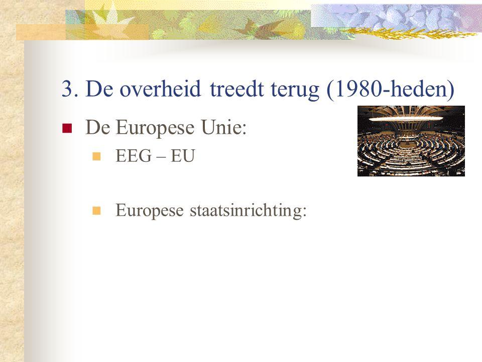 3. De overheid treedt terug (1980-heden) De Europese Unie: EEG – EU Europese staatsinrichting: