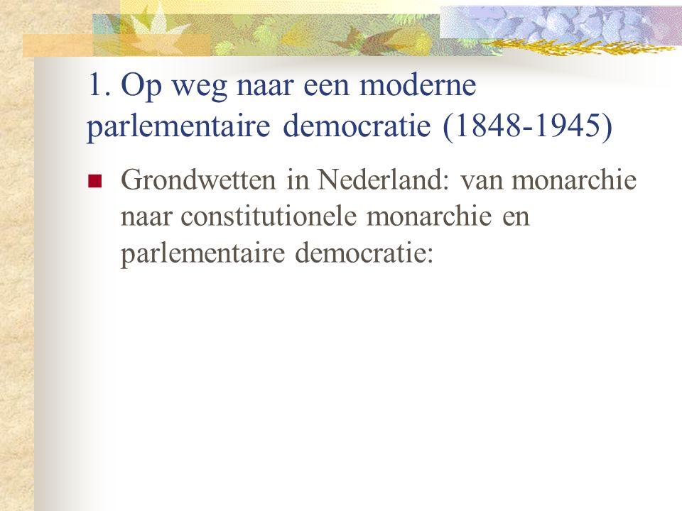 1. Op weg naar een moderne parlementaire democratie (1848-1945) Grondwetten in Nederland: van monarchie naar constitutionele monarchie en parlementair