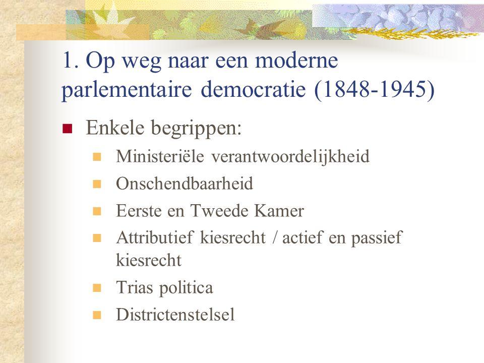 1. Op weg naar een moderne parlementaire democratie (1848-1945) Enkele begrippen: Ministeriële verantwoordelijkheid Onschendbaarheid Eerste en Tweede