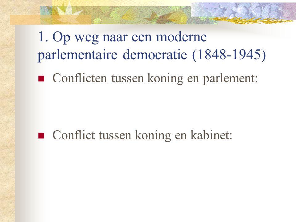 1.Op weg naar een moderne parlementaire democratie (1848-1945) Ontstaan van politieke partijen.