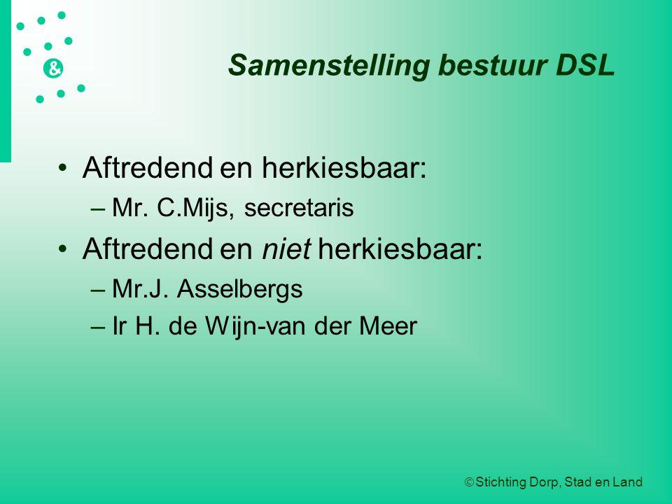  Stichting Dorp, Stad en Land   &  Samenstelling bestuur DSL Aftredend en herkiesbaar: –Mr.