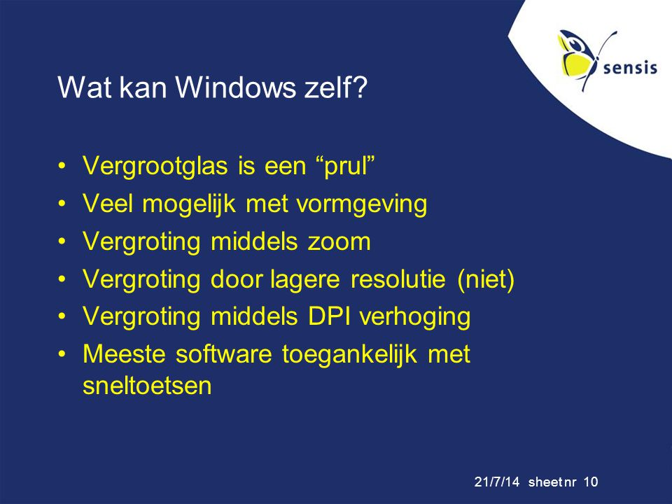 21/7/14 sheet nr 10 Wat kan Windows zelf.