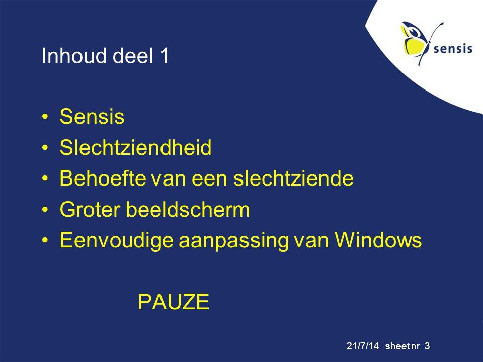 21/7/14 sheet nr 3 Inhoud deel 1 Sensis Slechtziendheid Behoefte van een slechtziende Groter beeldscherm Eenvoudige aanpassing van Windows PAUZE