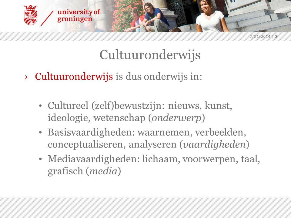 7/21/2014 | 3 Cultuuronderwijs ›Cultuuronderwijs is dus onderwijs in: Cultureel (zelf)bewustzijn: nieuws, kunst, ideologie, wetenschap (onderwerp) Bas