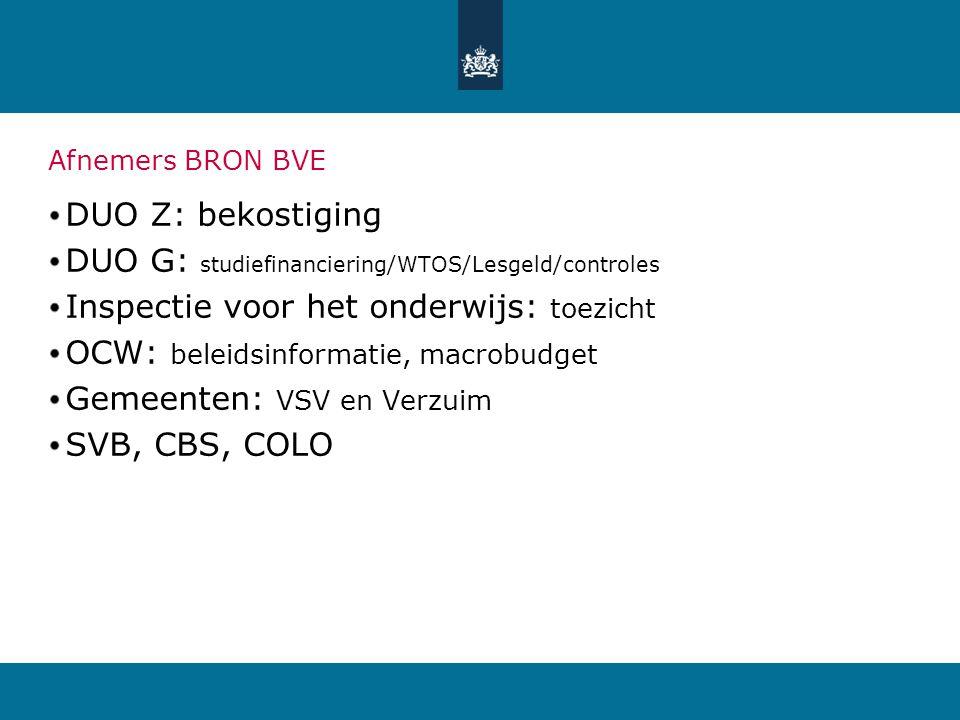 Afnemers BRON BVE DUO Z: bekostiging DUO G: studiefinanciering/WTOS/Lesgeld/controles Inspectie voor het onderwijs: toezicht OCW: beleidsinformatie, m