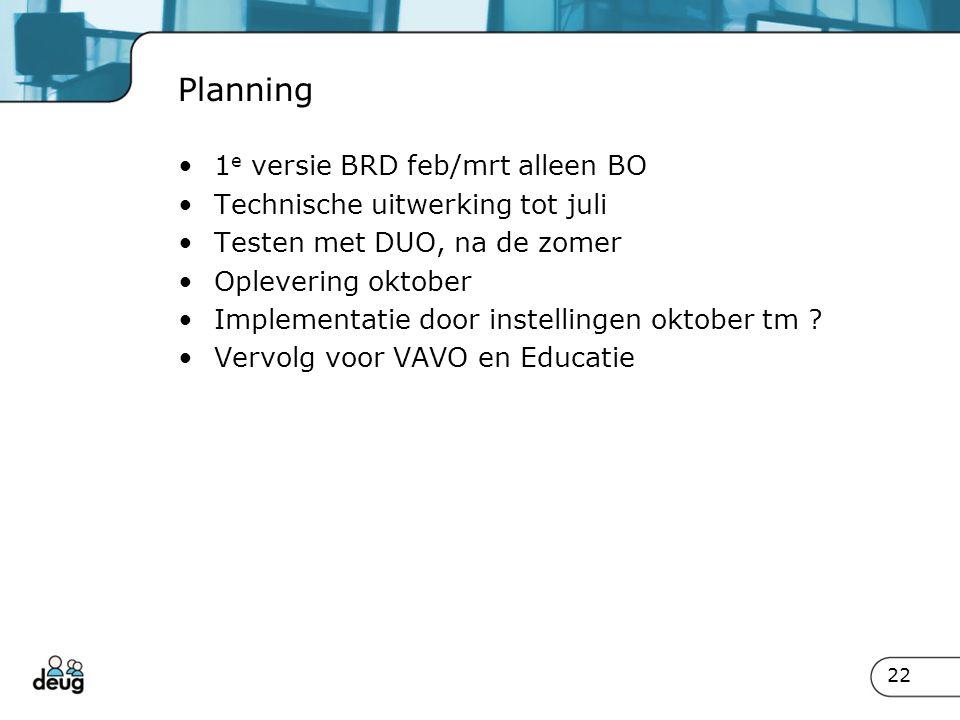 Planning 1 e versie BRD feb/mrt alleen BO Technische uitwerking tot juli Testen met DUO, na de zomer Oplevering oktober Implementatie door instellinge