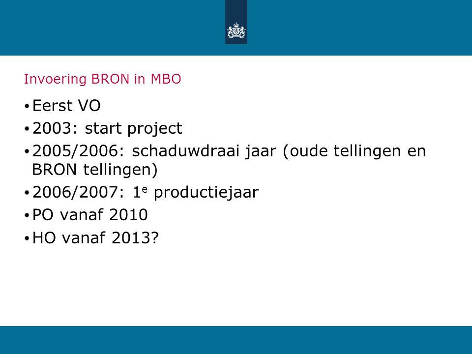 Invoering BRON in MBO Eerst VO 2003: start project 2005/2006: schaduwdraai jaar (oude tellingen en BRON tellingen) 2006/2007: 1 e productiejaar PO van