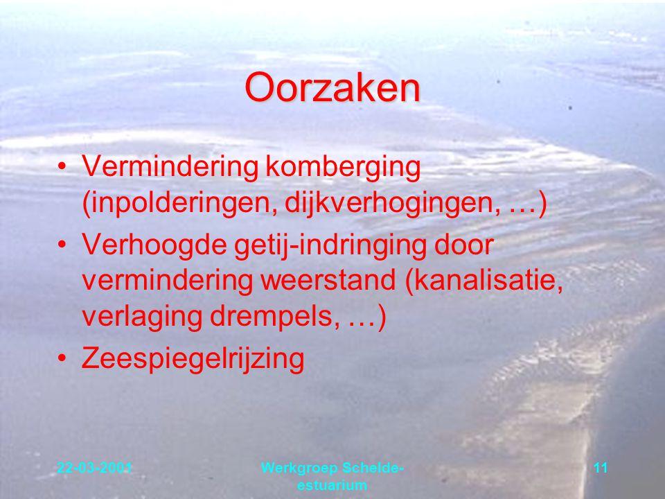 22-03-2001Werkgroep Schelde- estuarium 11 Oorzaken Vermindering komberging (inpolderingen, dijkverhogingen, …) Verhoogde getij-indringing door vermind
