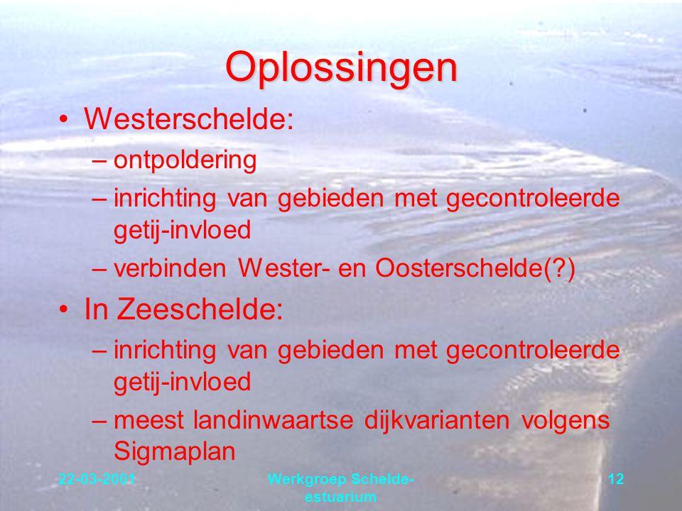 22-03-2001Werkgroep Schelde- estuarium 12 Oplossingen Westerschelde: –ontpoldering –inrichting van gebieden met gecontroleerde getij-invloed –verbinde