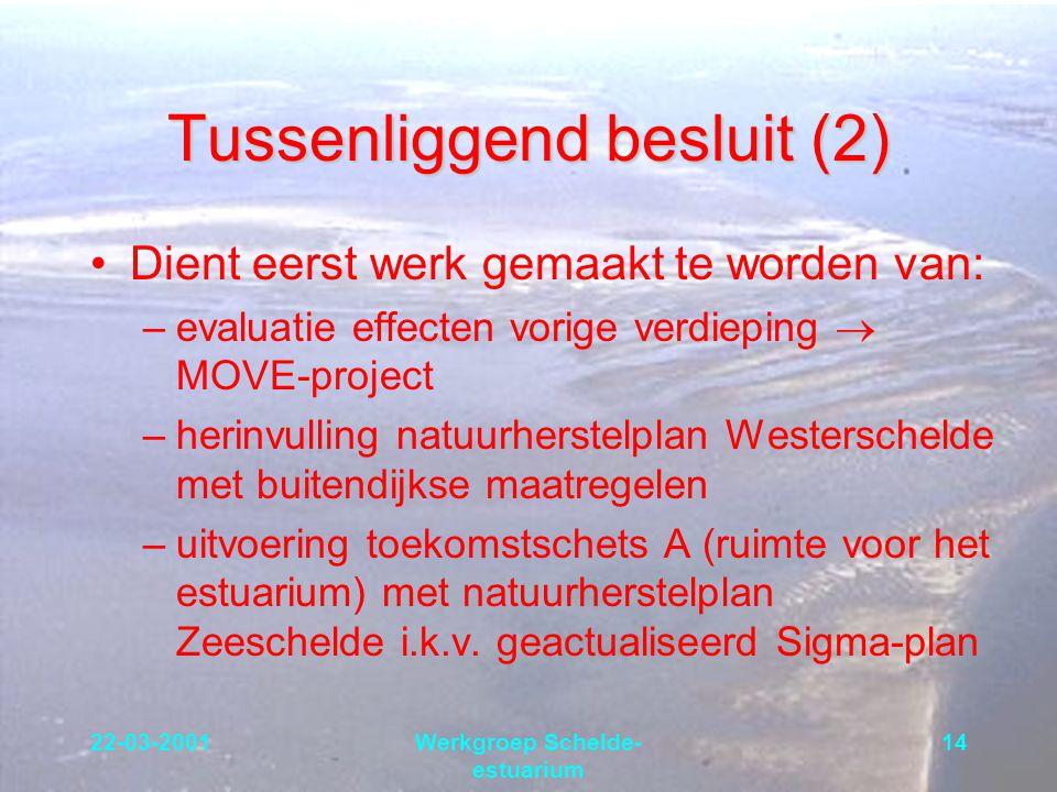 22-03-2001Werkgroep Schelde- estuarium 14 Tussenliggend besluit (2) Dient eerst werk gemaakt te worden van: –evaluatie effecten vorige verdieping  MO