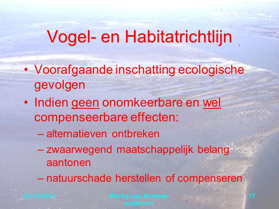 22-03-2001Werkgroep Schelde- estuarium 17 Vogel- en Habitatrichtlijn Voorafgaande inschatting ecologische gevolgen Indien geen onomkeerbare en wel com