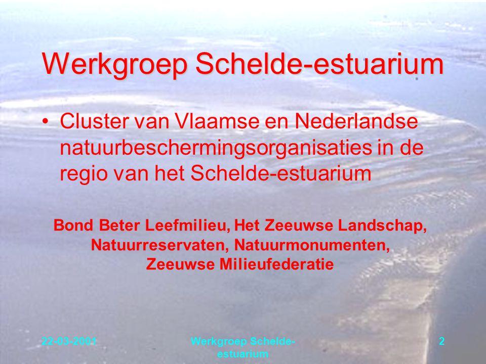 22-03-2001Werkgroep Schelde- estuarium 2 Cluster van Vlaamse en Nederlandse natuurbeschermingsorganisaties in de regio van het Schelde-estuarium Bond