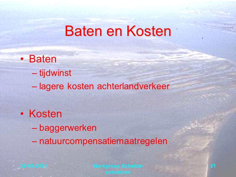 22-03-2001Werkgroep Schelde- estuarium 21 Baten en Kosten Baten –tijdwinst –lagere kosten achterlandverkeer Kosten –baggerwerken –natuurcompensatiemaa