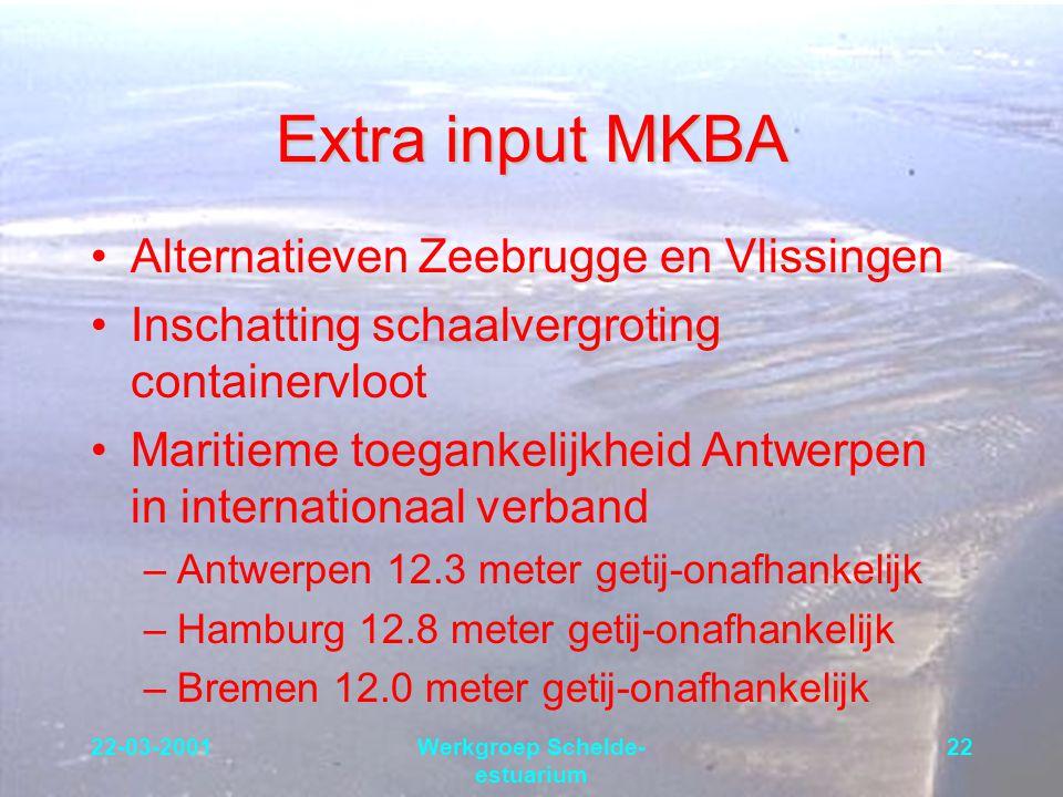 22-03-2001Werkgroep Schelde- estuarium 22 Extra input MKBA Alternatieven Zeebrugge en Vlissingen Inschatting schaalvergroting containervloot Maritieme