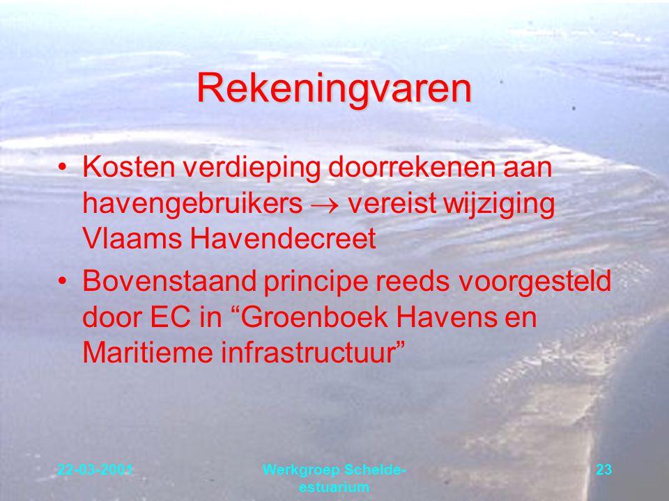 22-03-2001Werkgroep Schelde- estuarium 23 Rekeningvaren Kosten verdieping doorrekenen aan havengebruikers  vereist wijziging Vlaams Havendecreet Bove