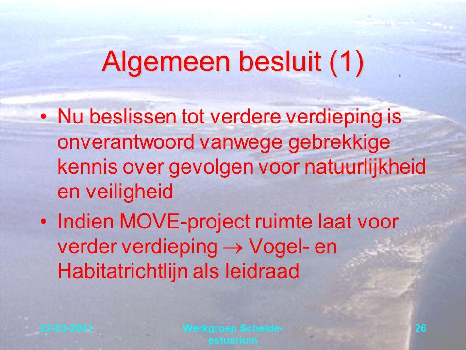 22-03-2001Werkgroep Schelde- estuarium 26 Algemeen besluit (1) Nu beslissen tot verdere verdieping is onverantwoord vanwege gebrekkige kennis over gev