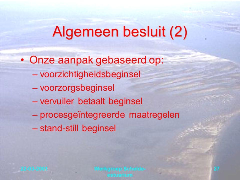 22-03-2001Werkgroep Schelde- estuarium 27 Algemeen besluit (2) Onze aanpak gebaseerd op: –voorzichtigheidsbeginsel –voorzorgsbeginsel –vervuiler betaa