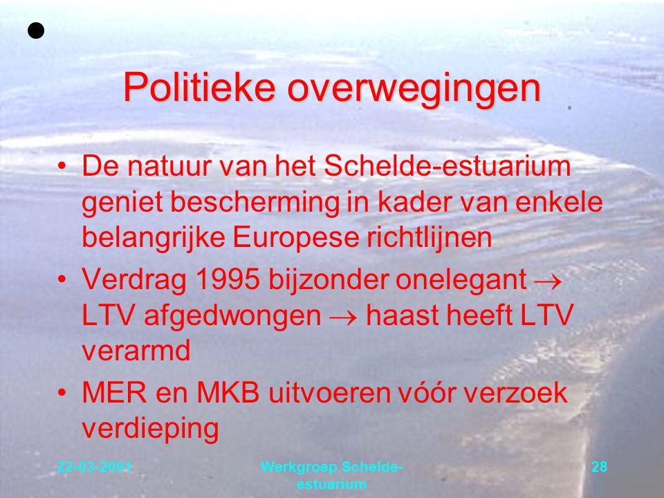 22-03-2001Werkgroep Schelde- estuarium 28 Politieke overwegingen De natuur van het Schelde-estuarium geniet bescherming in kader van enkele belangrijk