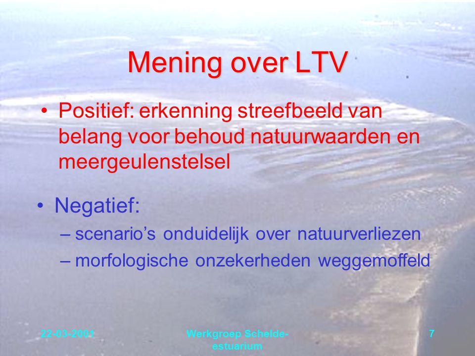22-03-2001Werkgroep Schelde- estuarium 7 Mening over LTV Positief: erkenning streefbeeld van belang voor behoud natuurwaarden en meergeulenstelsel Neg