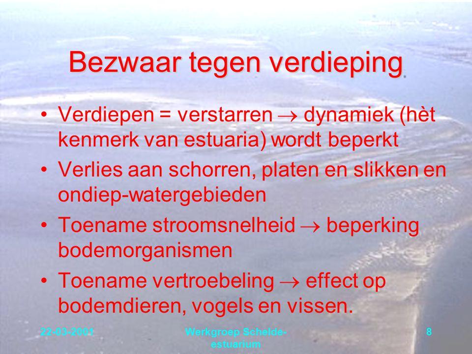 22-03-2001Werkgroep Schelde- estuarium 8 Bezwaar tegen verdieping Verdiepen = verstarren  dynamiek (hèt kenmerk van estuaria) wordt beperkt Verlies a