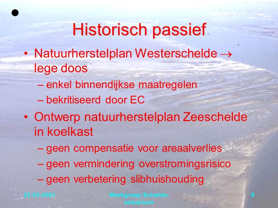 22-03-2001Werkgroep Schelde- estuarium 10 Overstromingsrisico In Nederland  1/4000 In Vlaanderen langs Zeeschelde: –Volgens Sigmaplan  1/10000 –Na KBR  1/350 –Momenteel  1/70 Een stormtij als die van 1953 zou niet gekeerd kunnen worden, terwijl de kans op voorkomen van een dergelijk getij 4,5 maal groter geworden is Citaat uit AWZ nota van november 1996: