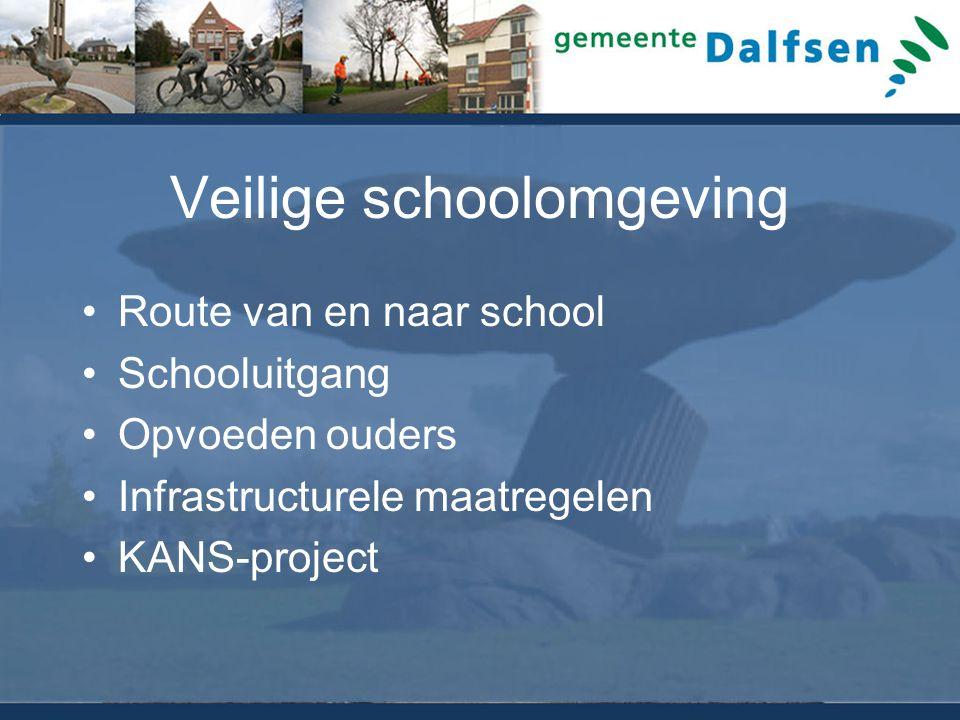 Veilige schoolomgeving Route van en naar school Schooluitgang Opvoeden ouders Infrastructurele maatregelen KANS-project