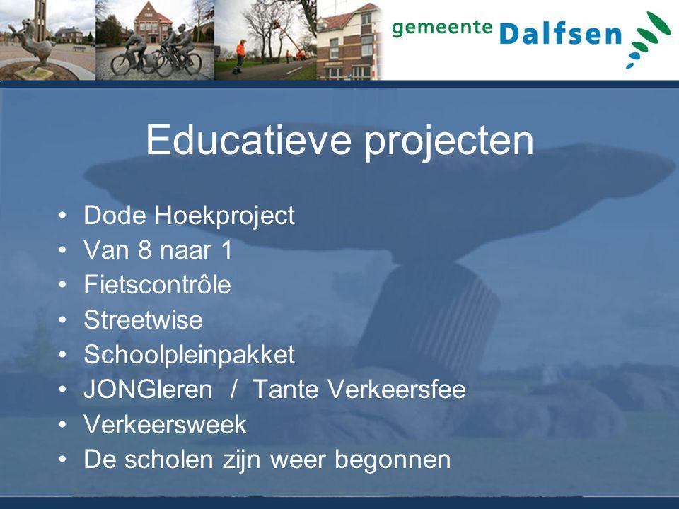 Educatieve projecten Dode Hoekproject Van 8 naar 1 Fietscontrôle Streetwise Schoolpleinpakket JONGleren / Tante Verkeersfee Verkeersweek De scholen zi