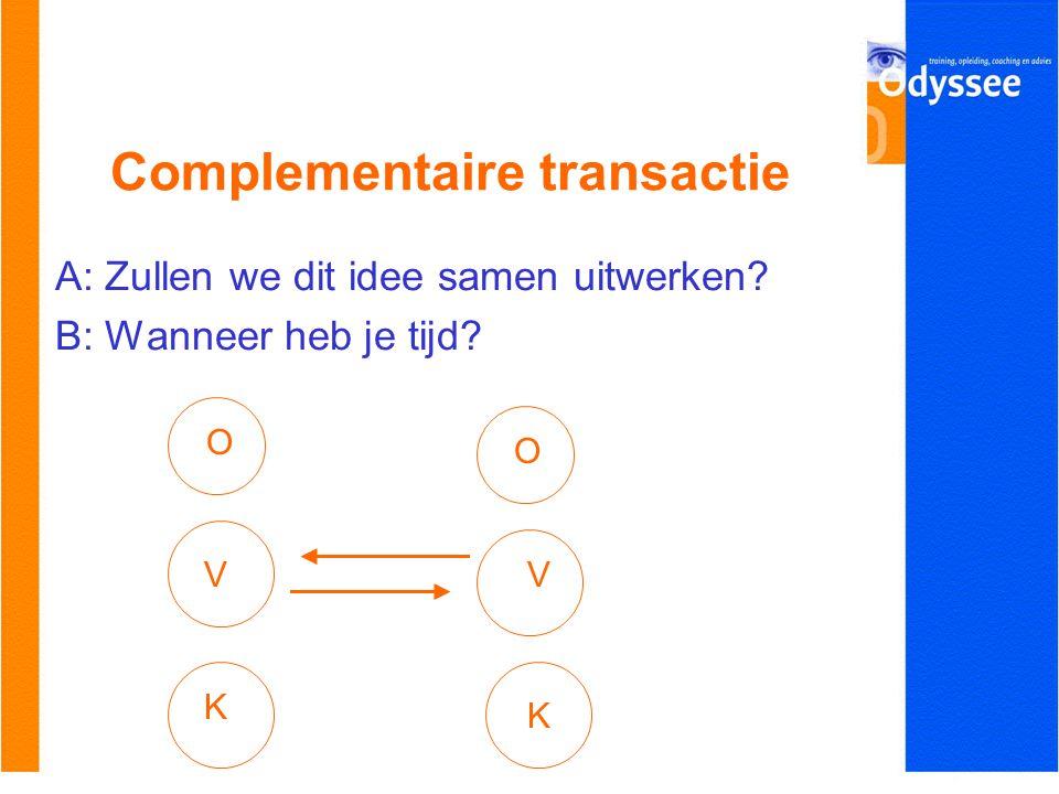 Complementaire transactie A: Zullen we dit idee samen uitwerken? B: Wanneer heb je tijd? O V K O V K