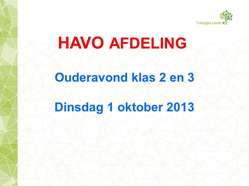 HAVO AFDELING Ouderavond klas 2 en 3 Dinsdag 1 oktober 2013