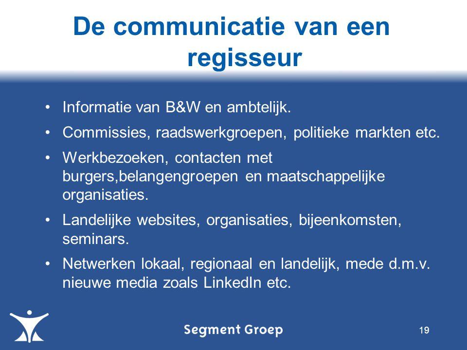 Informatie van B&W en ambtelijk. Commissies, raadswerkgroepen, politieke markten etc.