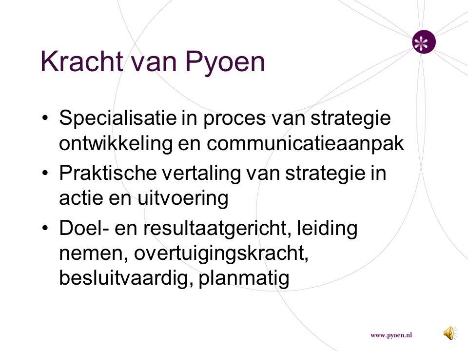 """Missie van Pyoen """"Pyoen Advies & Management wil helpen ambities te realiseren en draagt bij aan de groei van management en van mensen en organisaties."""