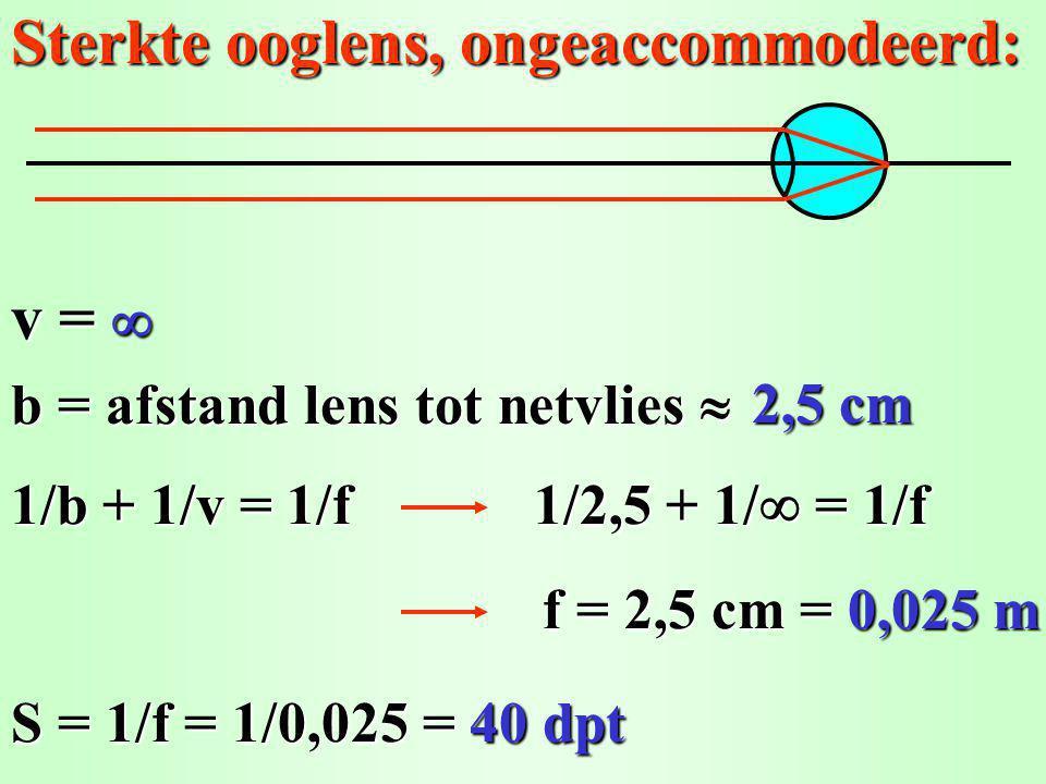 Sterkte ooglens, maximaal geaccommodeerd: v = 25 cm Nabijheidspunt N oog op 25 cm 1/b + 1/v = 1/f b = 2,5 cm 1/2,5 + 1/25 = 1/f f = 2,27 cm = 0,0227 m S = 1/f = 1/0,0227 = N oog 44 dpt