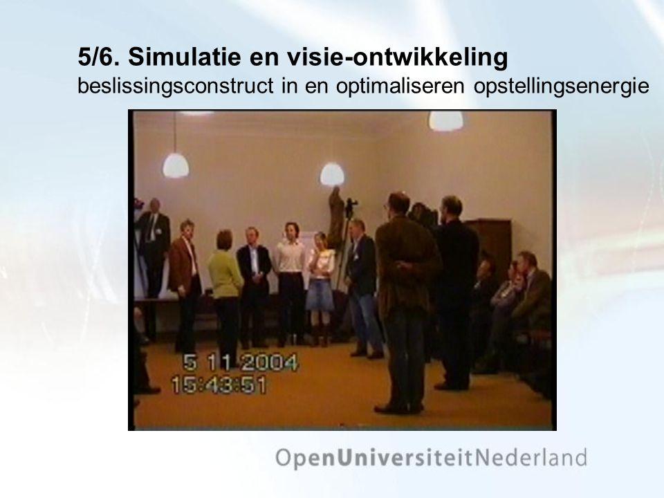 5/6. Simulatie en visie-ontwikkeling beslissingsconstruct in en optimaliseren opstellingsenergie